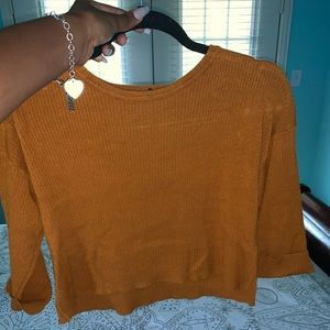 Cropped Mid Sleeve Sweater